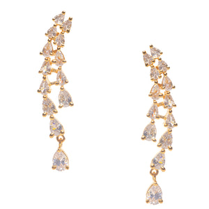 Tara Waterfall Statement Earrings Yellow Gold