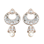 bridal wedding glam brass cubic zirconia jhumki stones