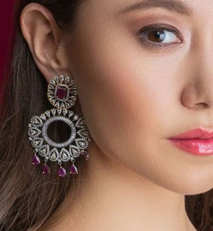 Avani Designer Indian Statement Earrings Ruby