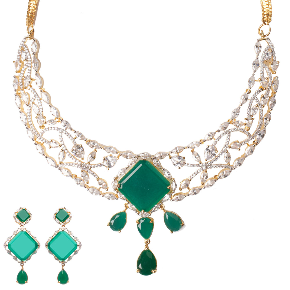 Falguni Statement Emerald Gold Plated Necklace & Earrings Set Luxury Indian Jewelry by Jaipur Rose