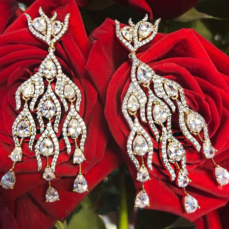 Alizey Designer Chandelier Swarovski Earrings By Jaipur Rose