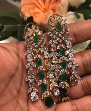 Ava Emerald Green Waterfall Drop Statement Earrings