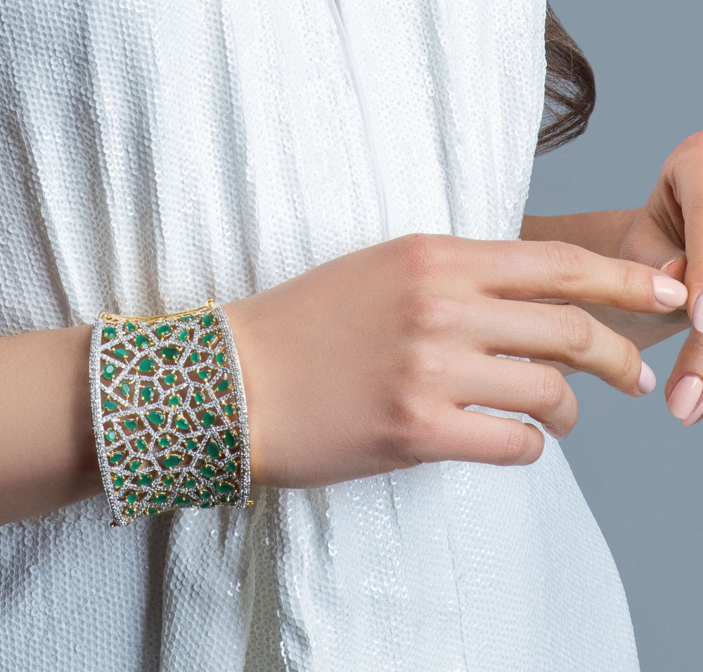 Jhanvi Statement Cuff In Emerald By Jaipur Rose