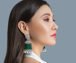 Bipasha Luxury Runway Jhumka Earrings by Jaipur Rose Luxury Designer Jewelry