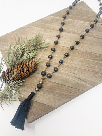 Pit Fire Ceramic + Tassel Necklace