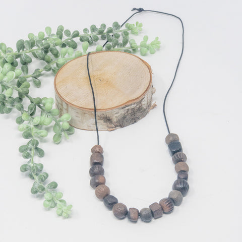 Pit-Fired Clay Necklace