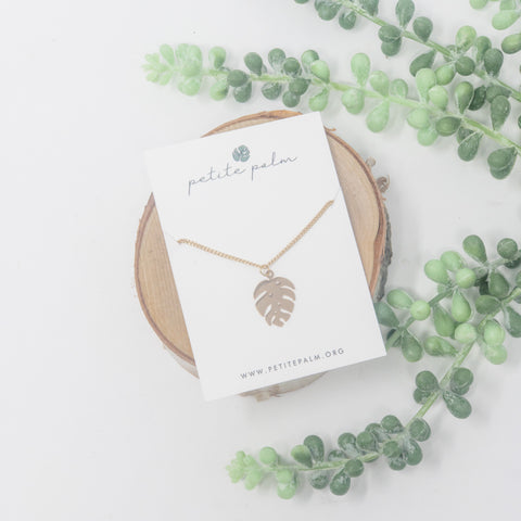 Petite Monstera Leaf Necklace