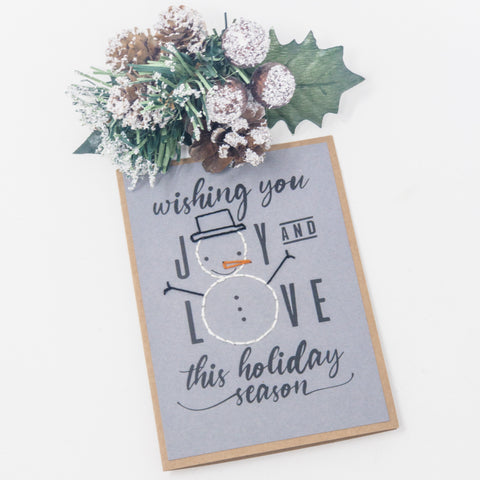 Joy & Love Snowman Holiday Greeting Cards