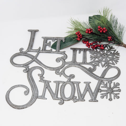 Ornate Let it Snow Metal Art