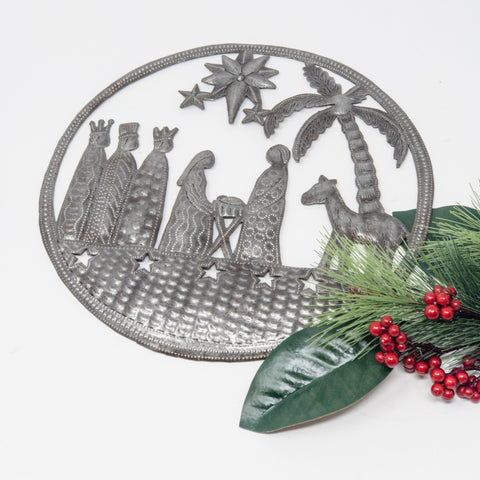Round Caribbean Nativity Metal Art