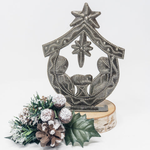 Small Standing Nativity Metal Art