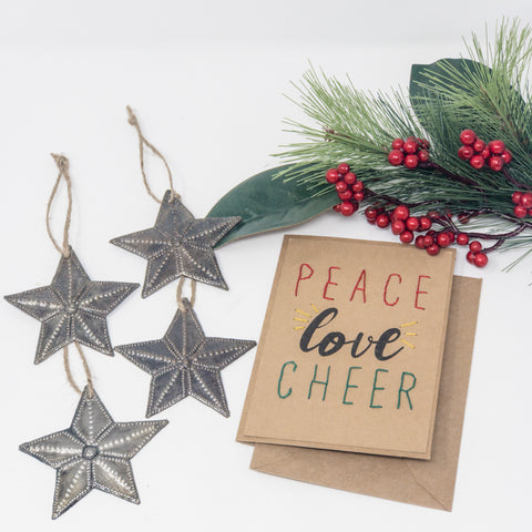 Peace Love Cheer + Star Ornaments Set