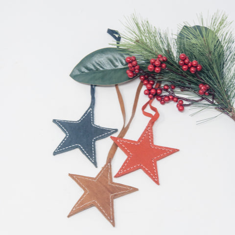 Leather Star Ornament Set