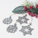 Festive Snowflake Metal Art Ornament Set