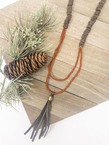 Leather + Tassel Necklace