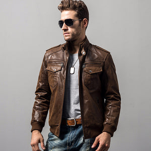 Men's pigskin motorcycle real leather jacket