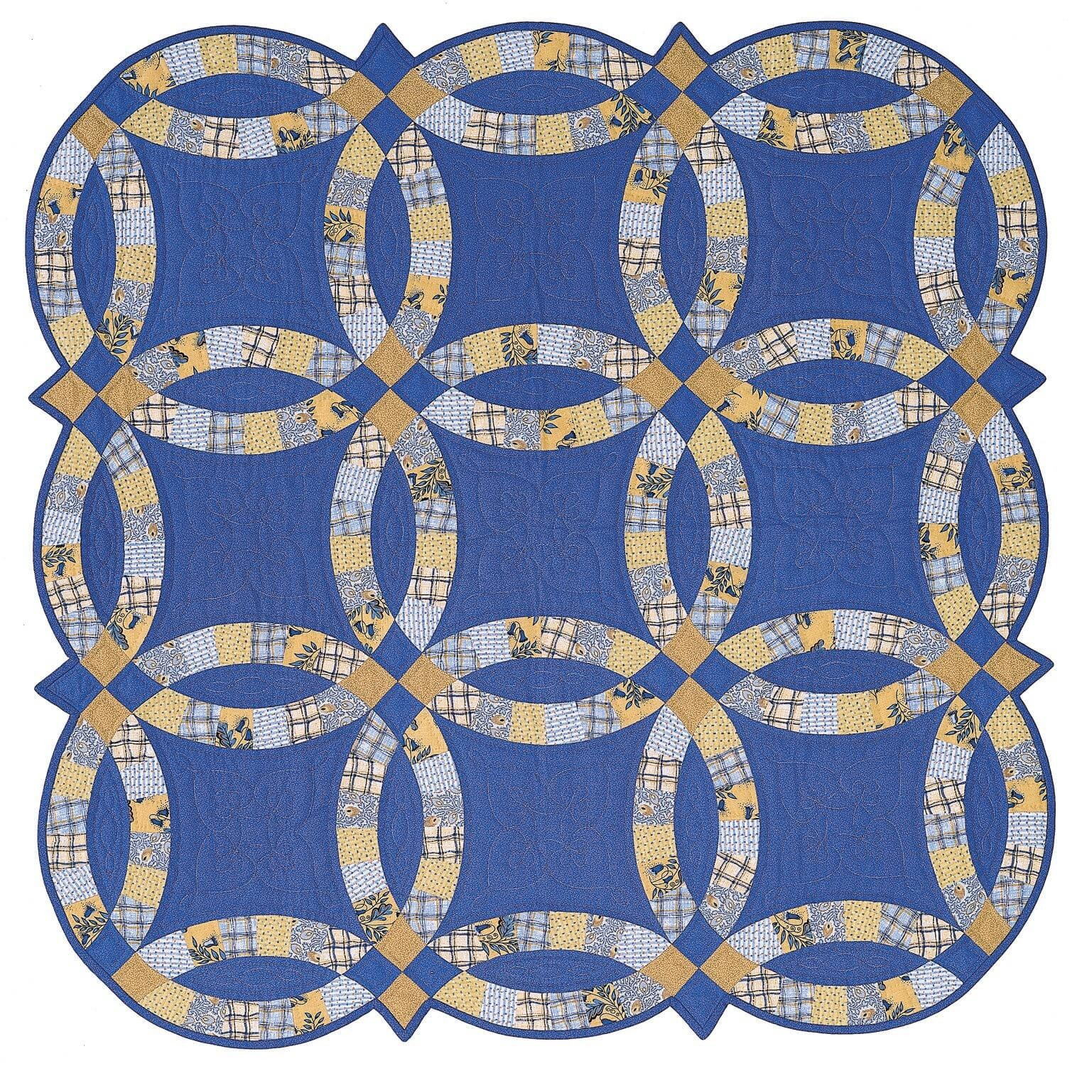 This is a photo of Free Printable Double Wedding Ring Quilt Pattern inside pdf