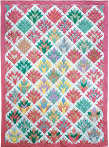 pink and green quilt using cleopatra fan template