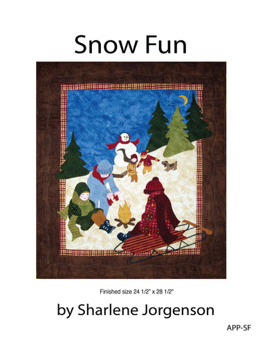 cover of snow fun quilt pattern by quilting from the heartland