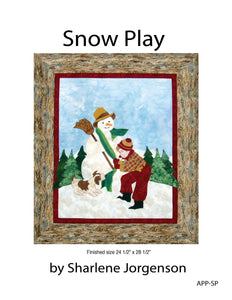 cover of snow play quilt pattern by shar jorgenson