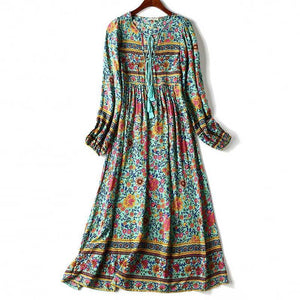 boho summer Long Sleeve Weekend Dress