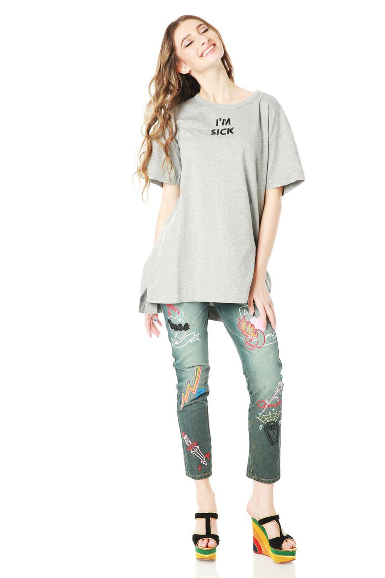 Multicolor Embroidered Boyfriend Denim