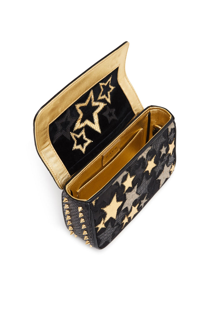 Black Gold Stars and Studs Small Multi Exotic Skins Bag