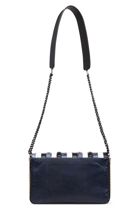 "Blue Black and White ""Les Loves"" Medium Multi Exotic Skins Bag"