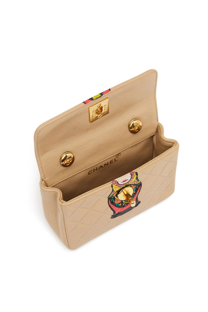 "Vintage Chanel Tan ""Matryoshka Doll"" Extra Mini Bag"