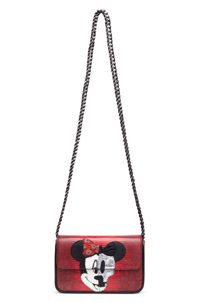 "Red ""Minnie Skull"" Multi Exotic Skins Bag"