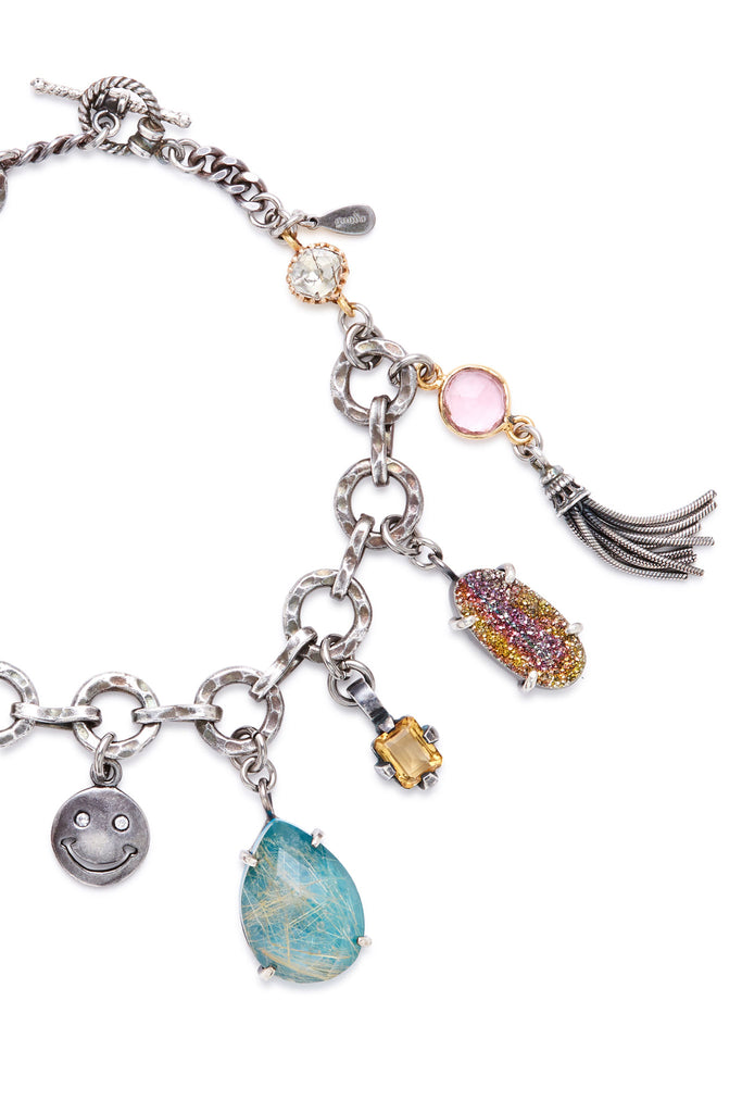 Sterling Silver Multi Charm and Tassels Link Bracelet