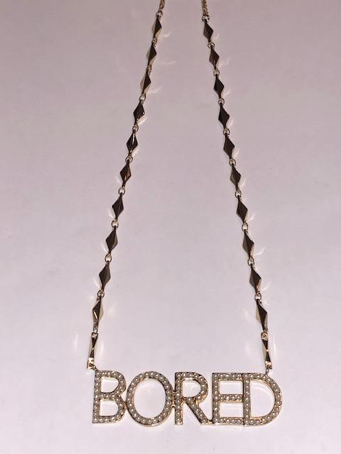 """Bored"" Brass & Pearl Necklace"
