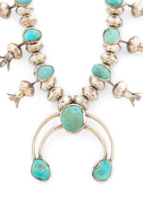 Navajo Sterling Silver and Turquoise Squash Blossom c. 1945 Necklace