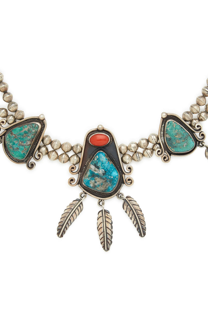Hesihi Sterling Silver Turquoise Coral Necklace