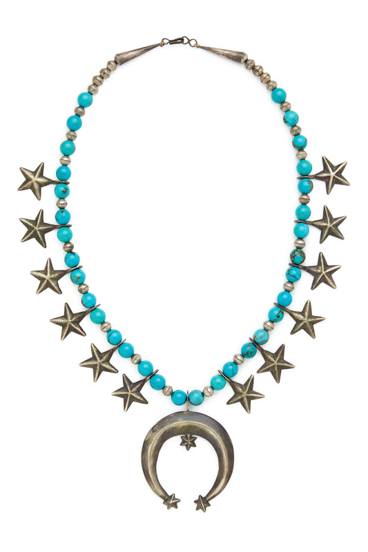 Sterling Silver Turquoise Star Squash Blossom Necklace and Earring Set
