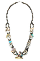 Sterling Silver Multi-Stone Snow White Squash Blossom Necklace