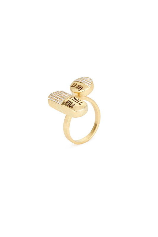 18K Gold and Diamond Chill Pill Ring