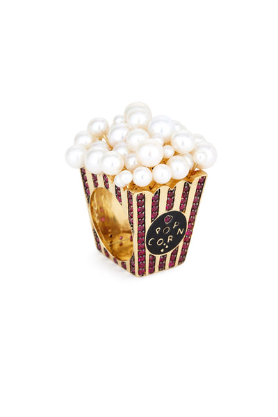 18K Gold and Ruby Popcorn Ring