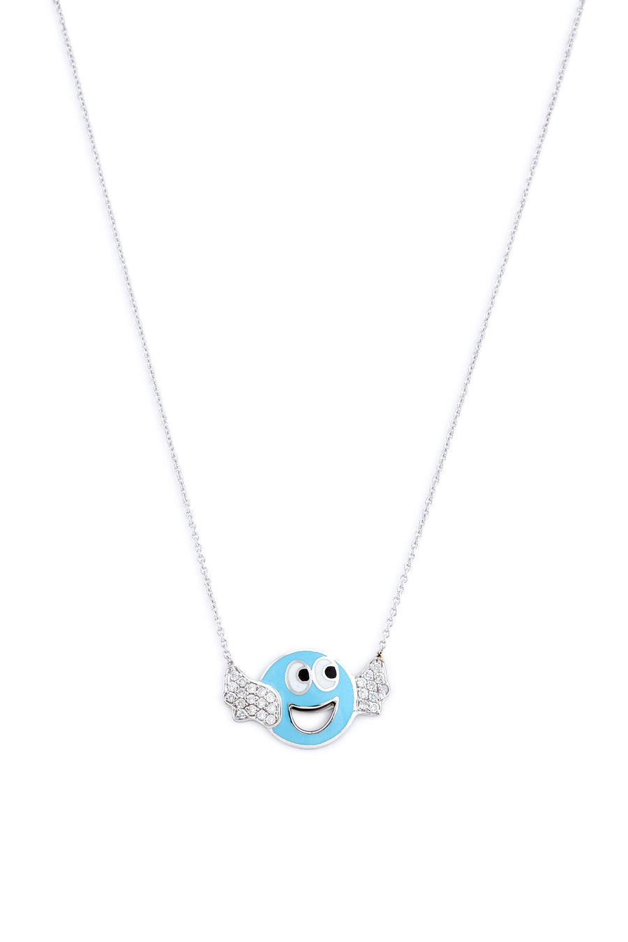 Sterling Silver and Diamond Blue Wing Smiley Necklace