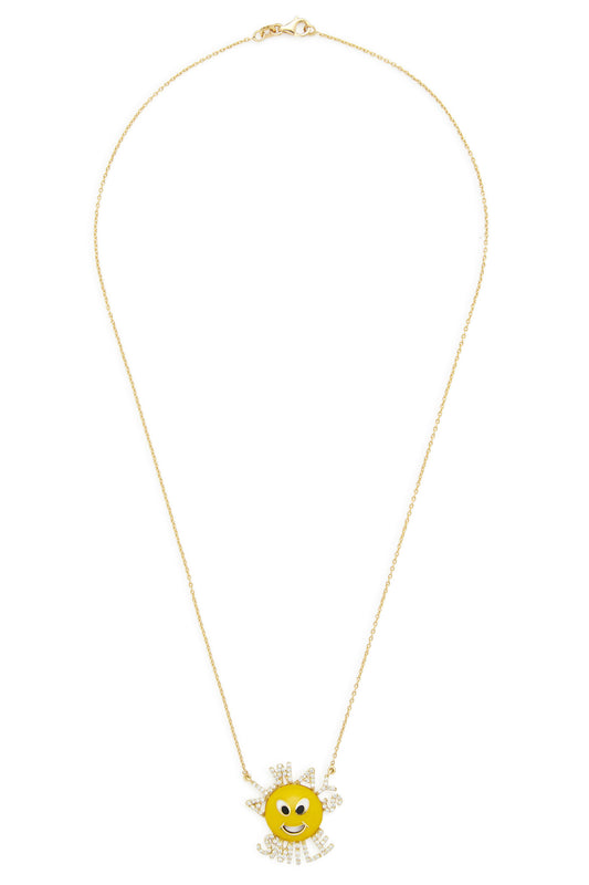 14K Gold and Diamond Always Smile Necklace