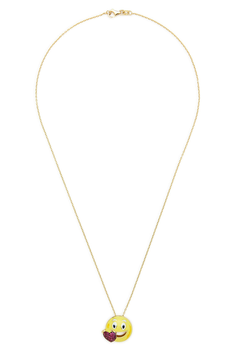 14K Gold and Ruby Heart Smile Emoji Necklace