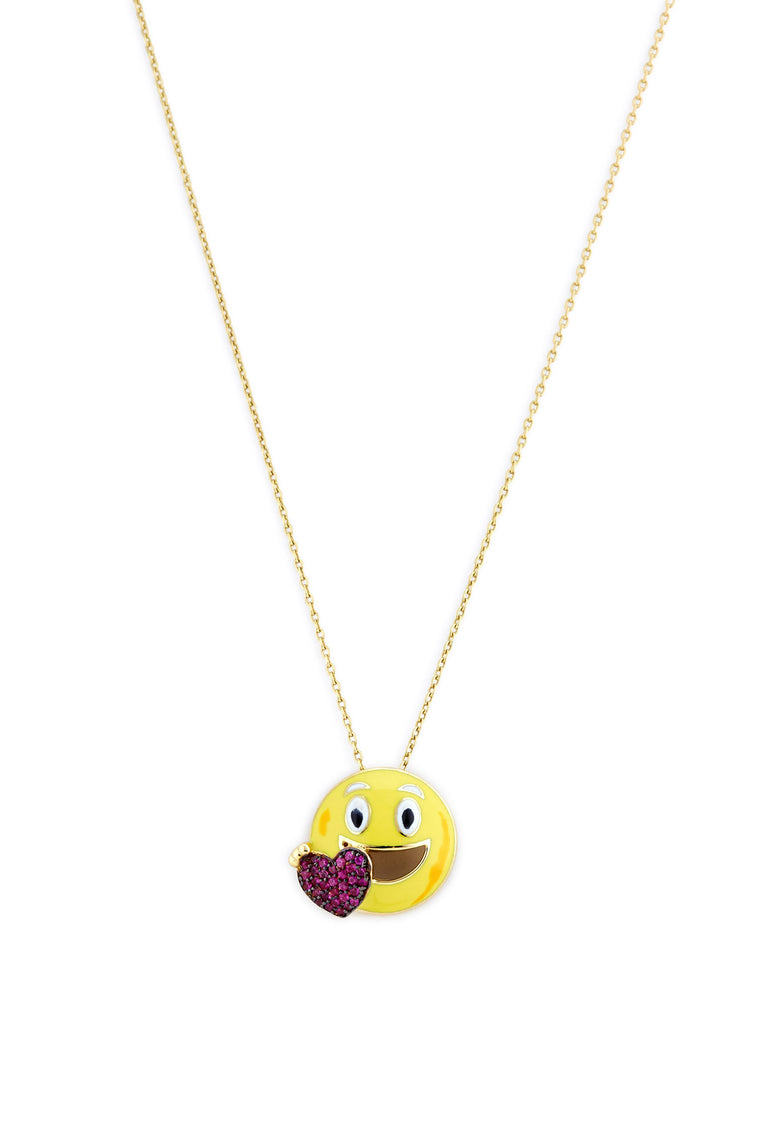 18K Gold and Ruby Heart Smile Emoji Necklace