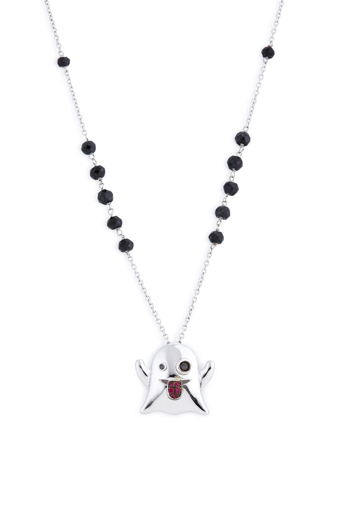 Sterling Silver and Ruby Ghost Pendant Necklace