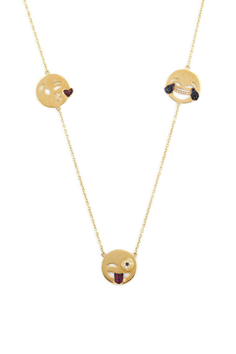 18K Gold and Ruby Five Emoji Necklace