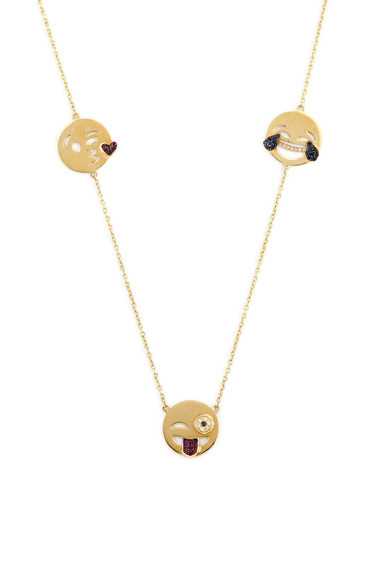 14K Gold and Ruby Five Emoji Necklace