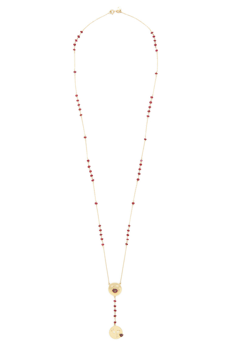14K Gold and Ruby Pout and Kiss Emoji Rosary