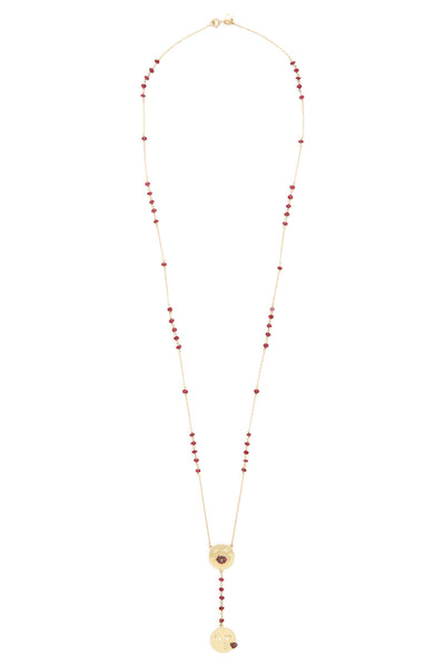 18K Gold and Ruby Pout and Kiss Emoji Rosary