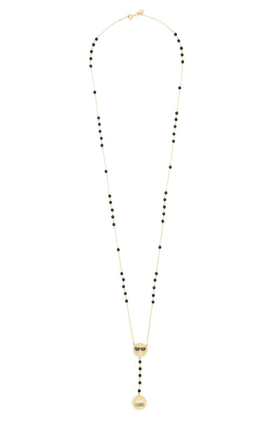 18K Gold and Black Diamond Joe Cool Emoji Rosary