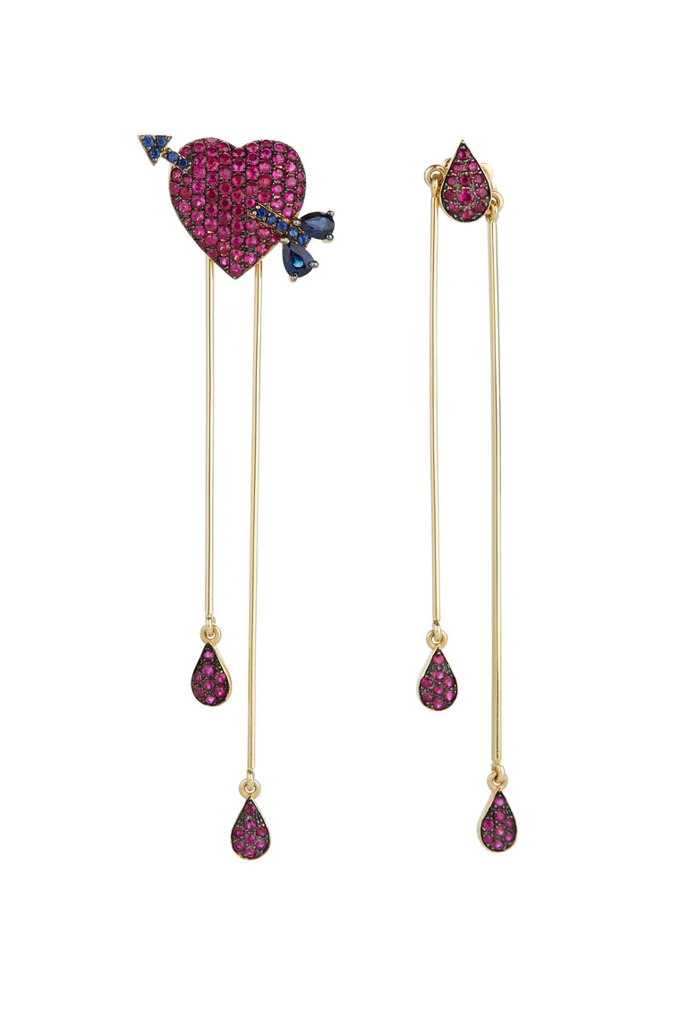 14K Gold and Ruby Bleeding Heart Earrings