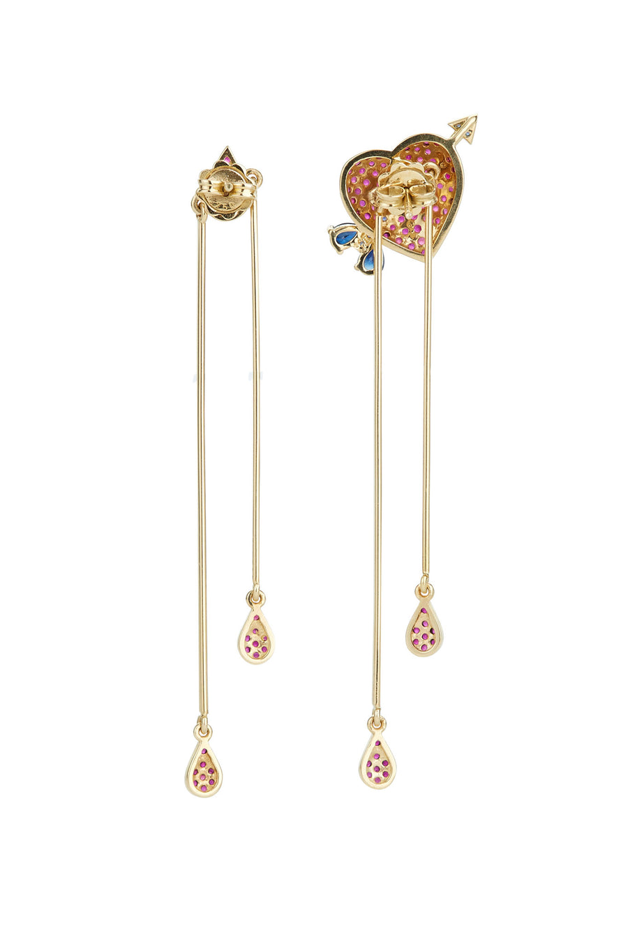 18K Gold and Ruby Bleeding Heart Earrings